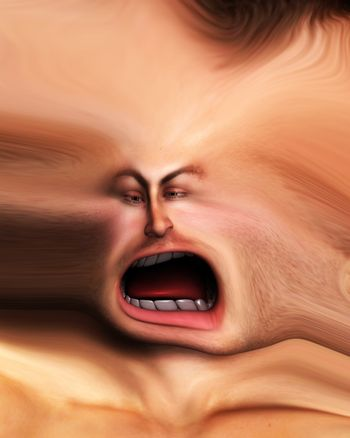 Screaming distorted face for Halloween, anger or stress concepts.