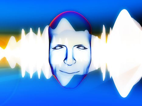A face with an added soundwave for music concepts.