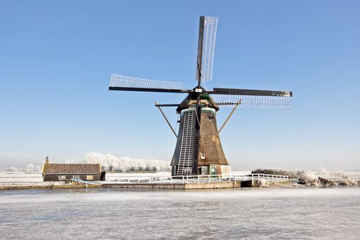 Windmill from 1803 in wintertime in the Netherlands