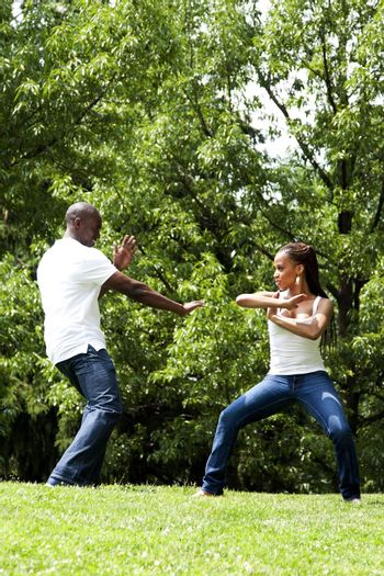 Martial Arts excercise couple