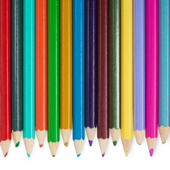 Fourteen color pencils on white background