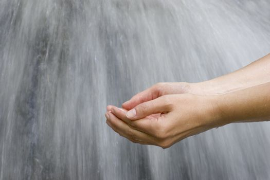 Female hands scooping clear water of a source
