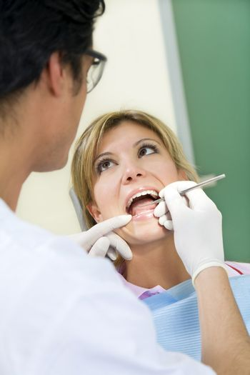 young woman doing dental checkup
