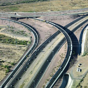 Aerial of route 101 and route 51 highways and overpass in Arizona.