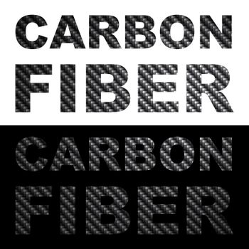 Carbon fiber clip art words with texture isolated over black and white.