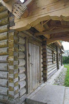 Ancient Russian loghouse near Saint Petersburg, Russia.