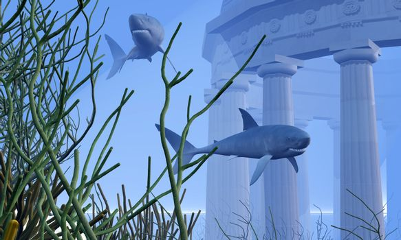 Two Mako sharks swim by a greek temple submerged in the ocean depths.