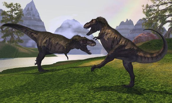 Two Tyrannosaurus Rex dinosaurs fight for the right of a territory.