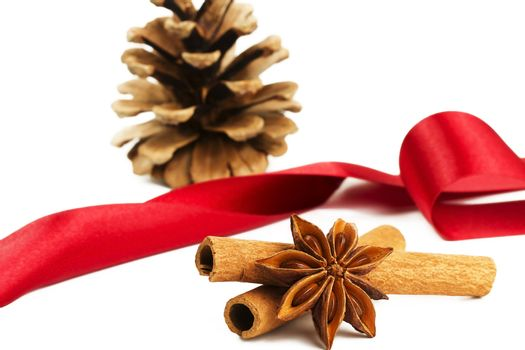 star anise cinnamon sticks conifer cone and a red ribbon