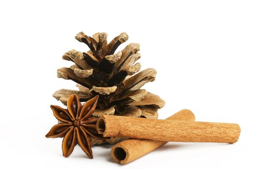 two cinnamon sticks one star anise and a conifer cone