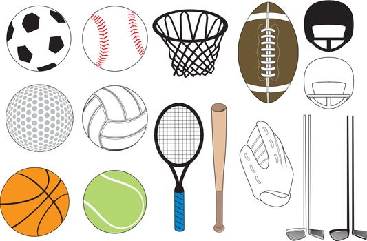 Vector Illustration of 15 sports icons siolated. No gradients were used. Available in other versions.