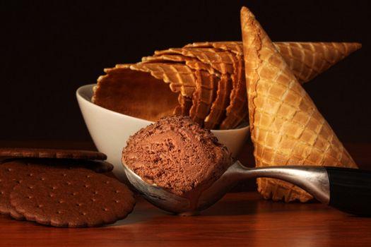 Scoop of rich chocolate ice cream