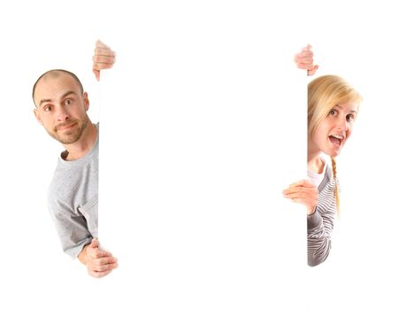 Man and woman holding white board on white