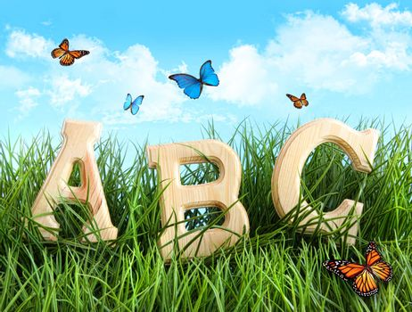 ABC letters in the grass with butterflies