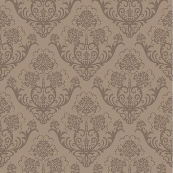 Seamless brown floral wallpaper. This image is a vector illustration.