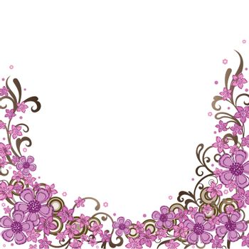 Decorative pink floral border. This image is a vector illustration.
