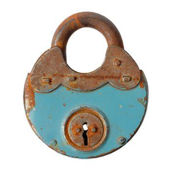 Old rusty padlock closed