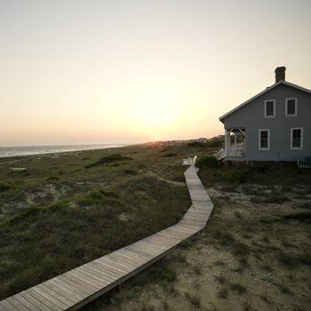 Coastal beach house with wooden boardwalk at  Bald Head Island, North Carolina.