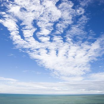 Scenic view of horizon with blue sky and cloud texture over water.
