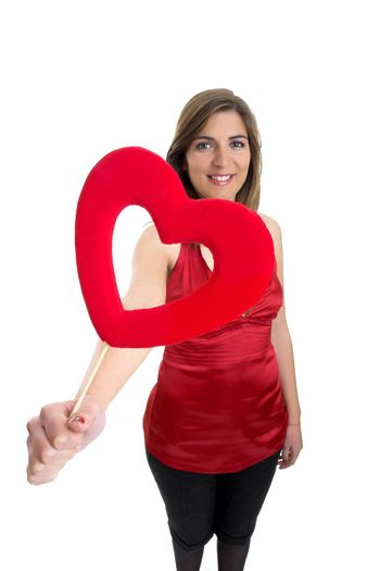 Valentine woman with a heart on the hands