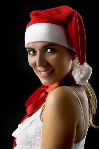 Christmas woman portrait isolated on a black background