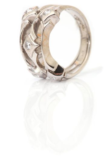 vertical white gold ring