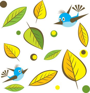 Background with leaf with bird. Vector Illustration