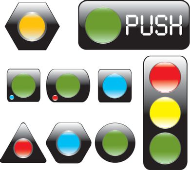 Glossy black buttons. Vector Illustration.