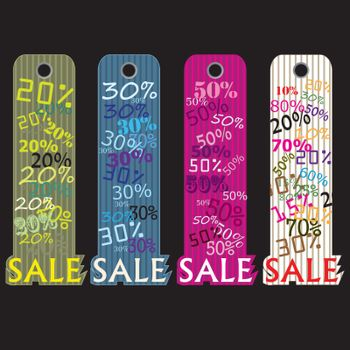 Sale price tags. Vector Illustration