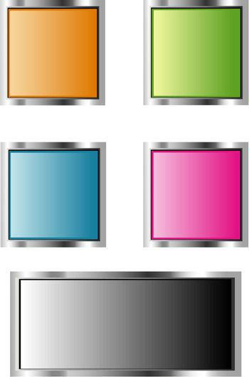 Glossy Button Set for Web Applications - Vector