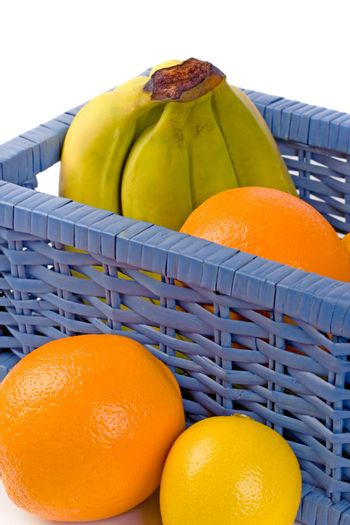 blue basket with fruits