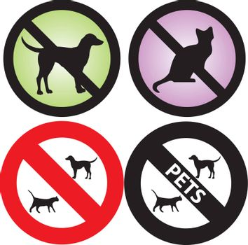 Vector Illustration of four Pets Signs. See my others in this series.