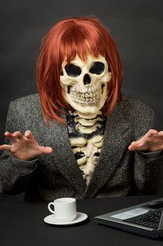 Amusing skeleton with red hair - Halloween