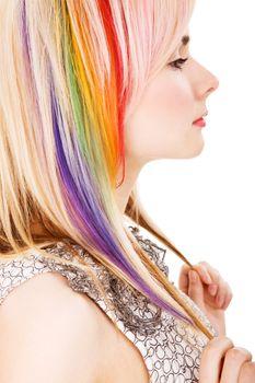 Girl with rainbow haircut