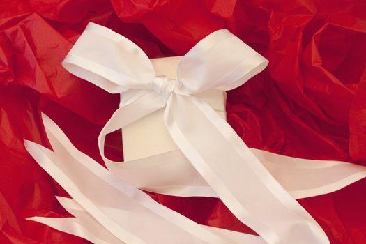 Festively elegant, wrapped white box and white ribbon against red tissue paper