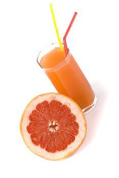 half of grapefruit and juice