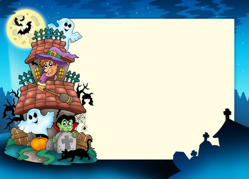 Frame with haunted house