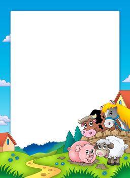 Frame with landscape and animals - color illustration.