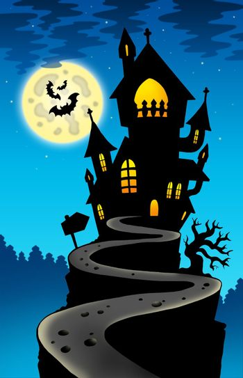 Haunted house on hill with Moon