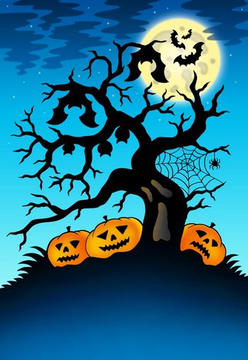 Spooky tree with bats and pumpkins