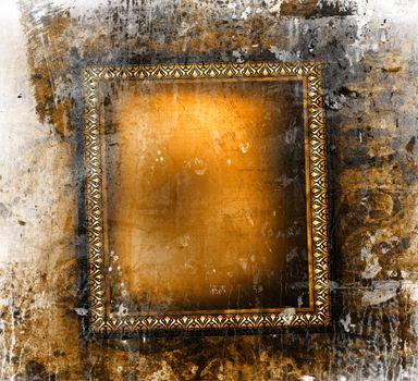 Gilded frame on grunge background
