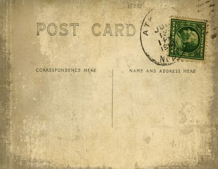 Vintage postcard with grungy background