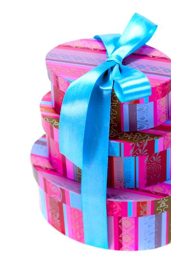 pyramid of colorfull gift boxes