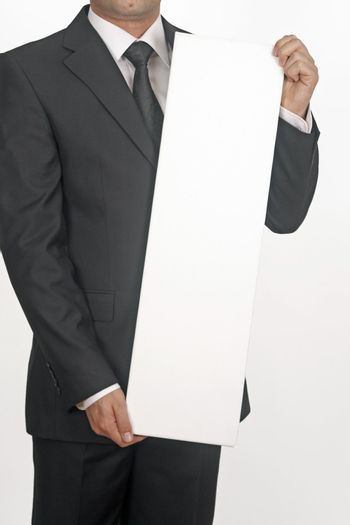 business man with white card over a white background