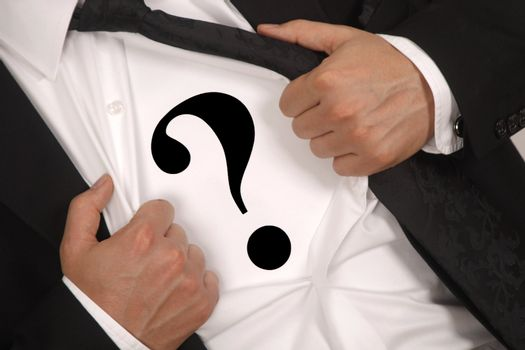 businessman who is hiding inside the question mark