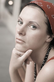 unhappy woman in red kerchief