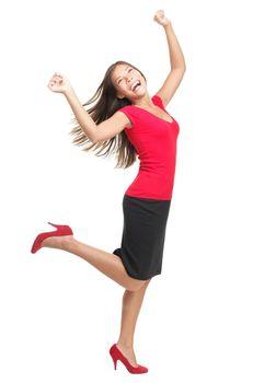 ecstatic woman dancing of joy
