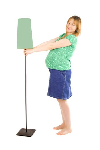 pregnant woman and lamp