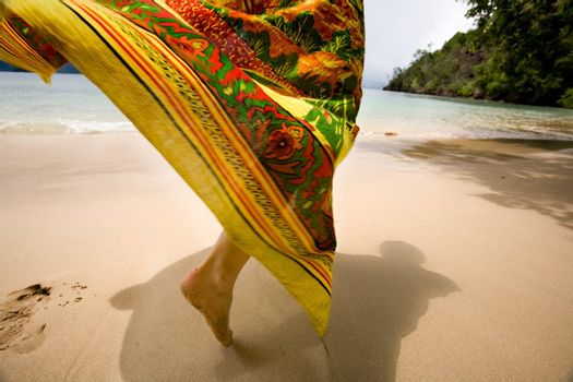 A woman's skirt blowing in the wind on a tropical beach