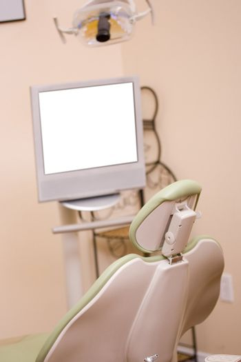 Close-up of a dentist chair in a dental clinic.